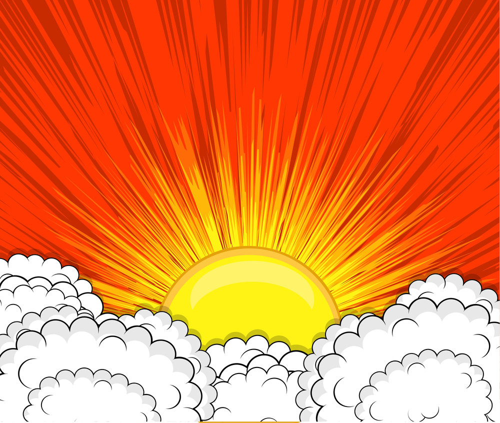Retro Clouds Sunburst Background