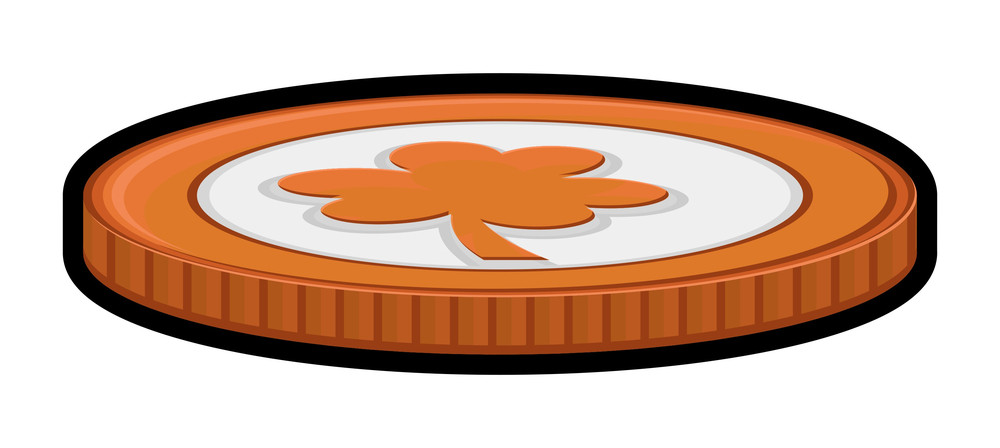 Retro Clover Leaf Coin Design