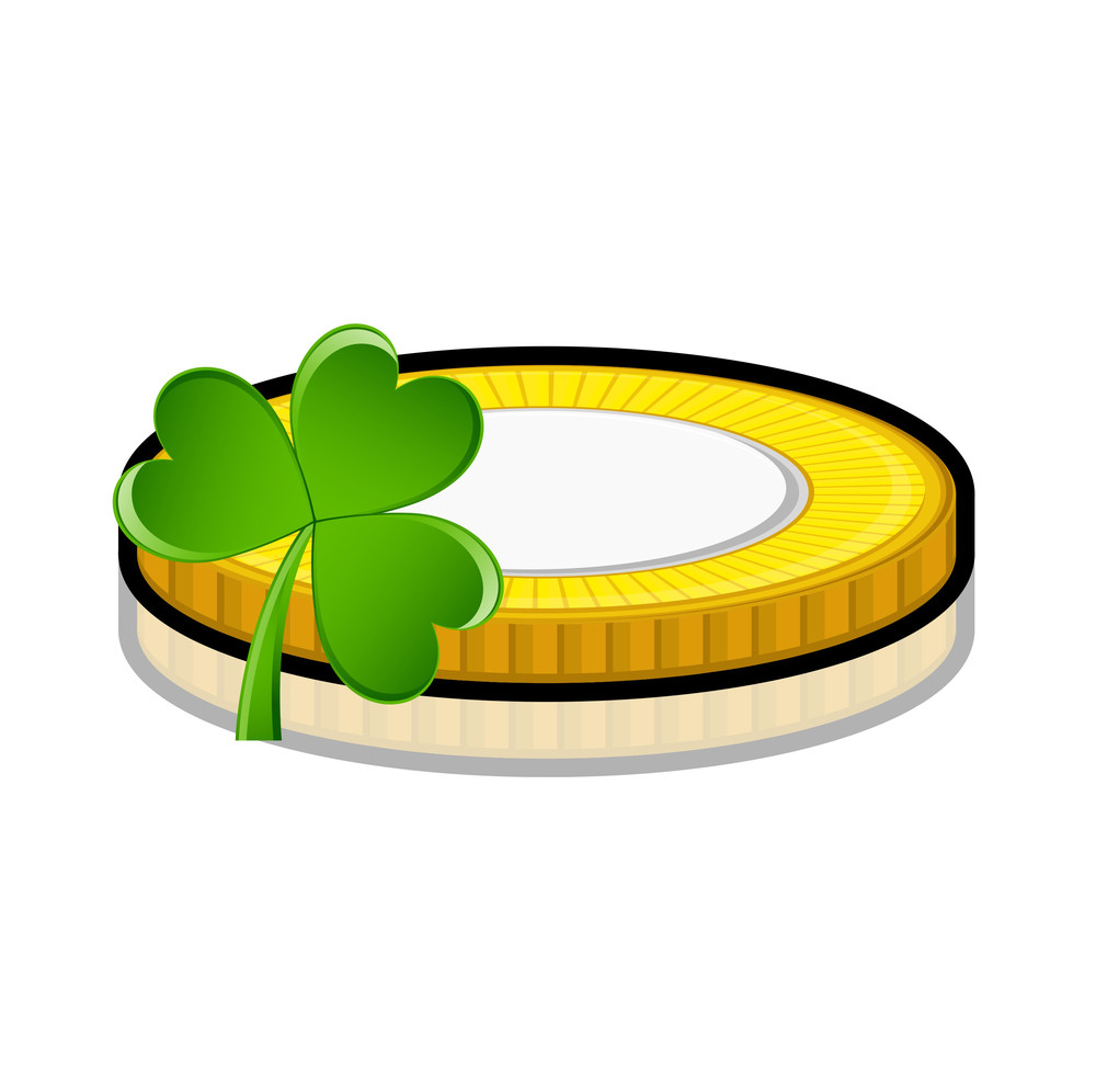 Retro Coin With Clover Leaf Vector