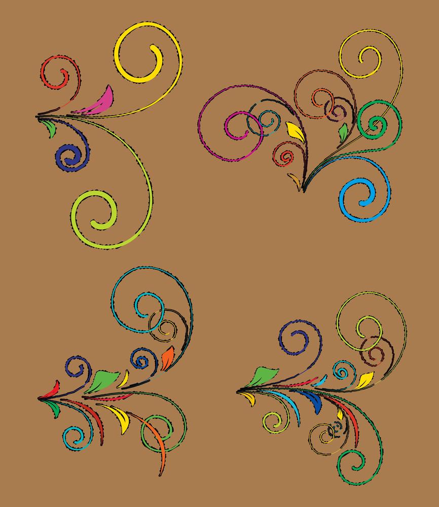 Retro Colored Floral Design Elements