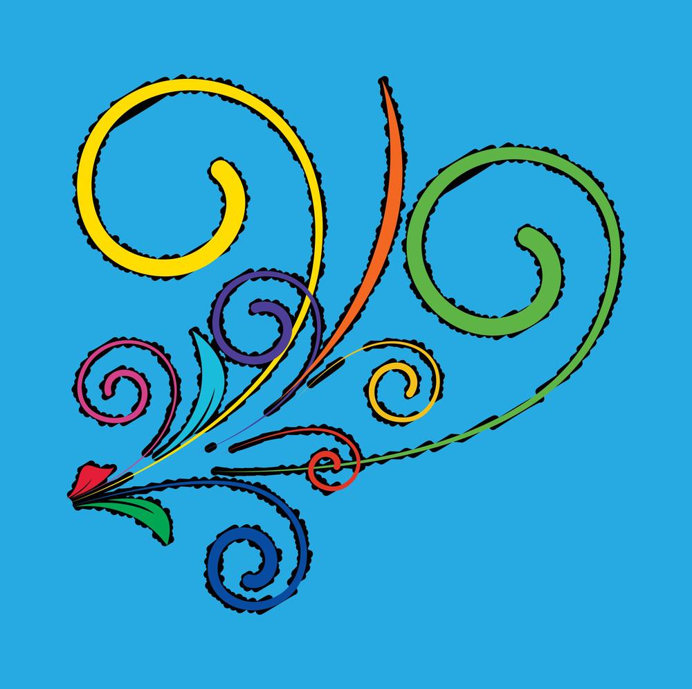 Retro Colored Flourish Design