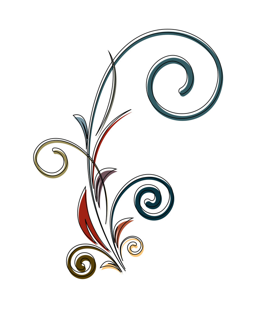 Retro Colored Flourish Design