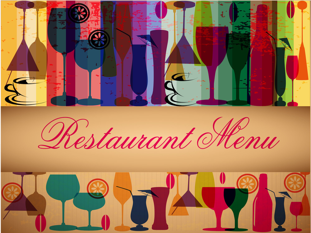 Retro Colorful Menu Card Design.