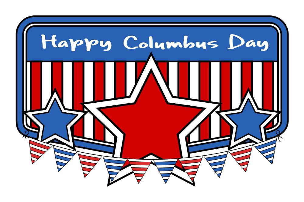Retro Columbus Day Stars Banner Vector