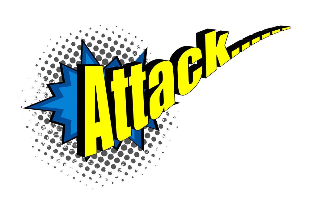 Retro Comic Attack Text Halftone Background