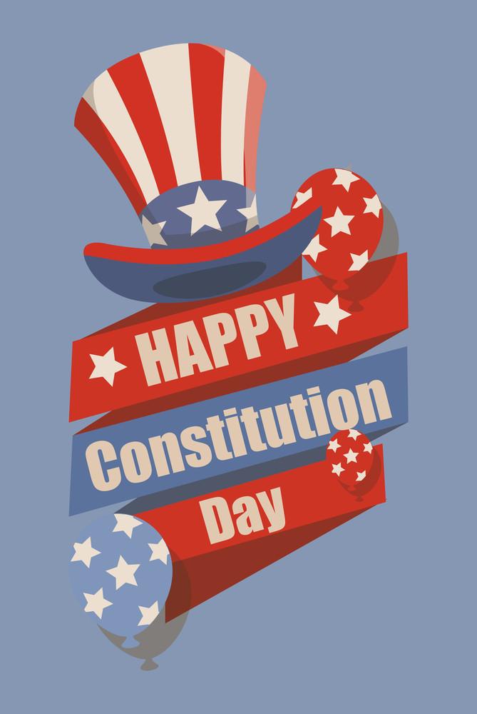 Retro  Constitution Day Vector Illustration