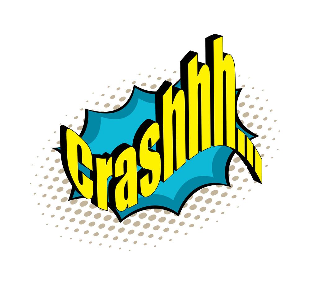 Retro Crash Text Banner Vector