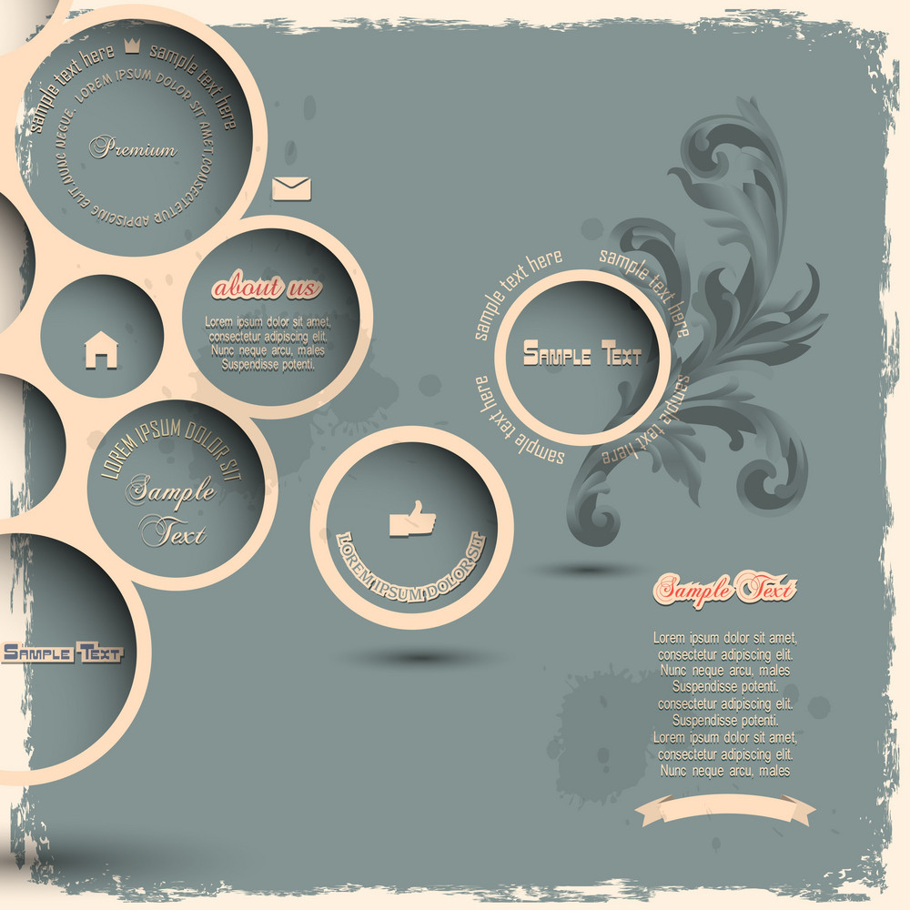 Retro Design Bubbles On Grunge Background