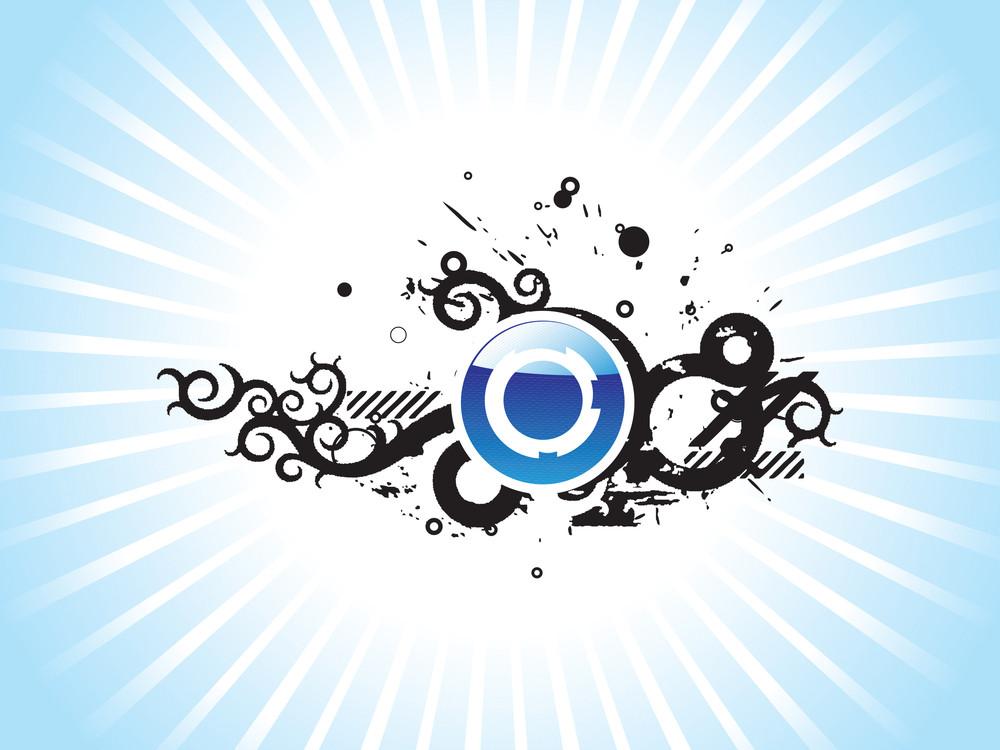 Retro Design Gruge Elements On Blue Background Wallpaper