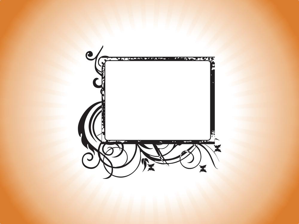 Retro Design Grunge Frame In Orange