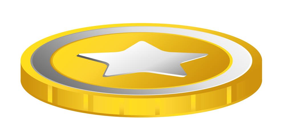 Retro Design Star Gold Coin