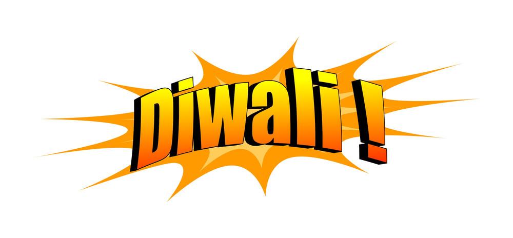 Retro Diwali Text Banner