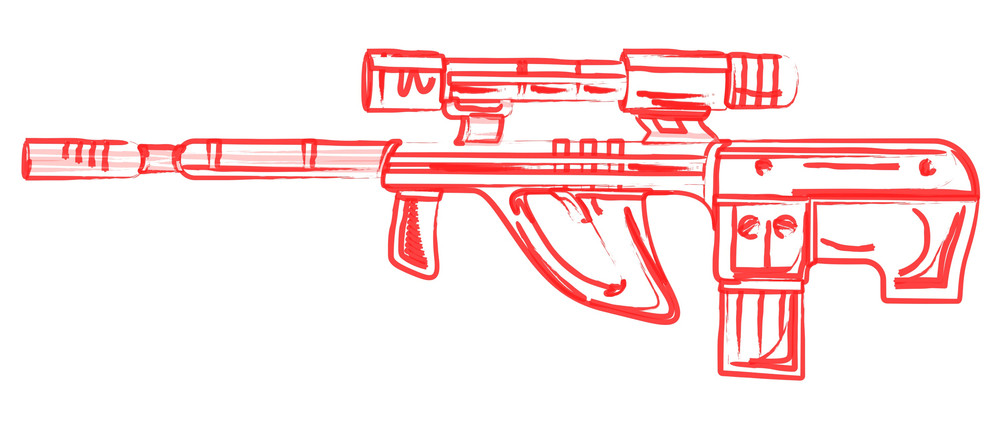 Retro Drawing Of Ancient Shooting Gun