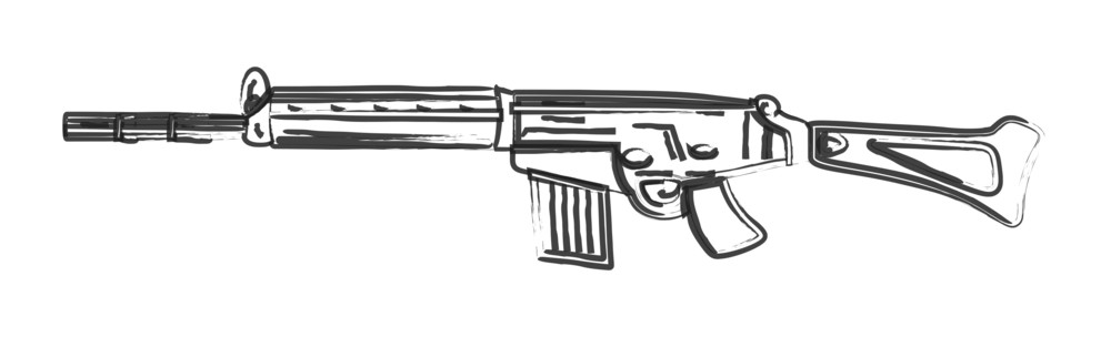 Retro Drawing Of Fancy Gun