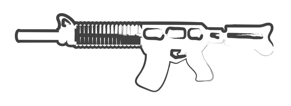 Retro Drawing Of Machine Gun
