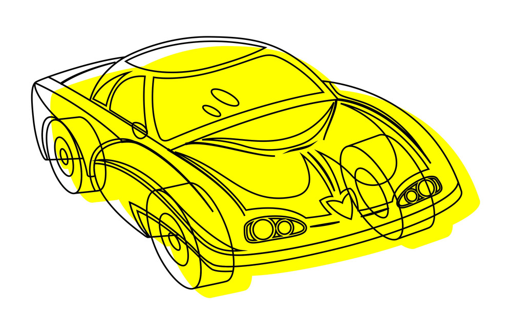 Retro Drawing Of Modern Sports Car