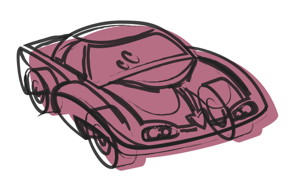 Retro Drawing Of Modern Sports Car