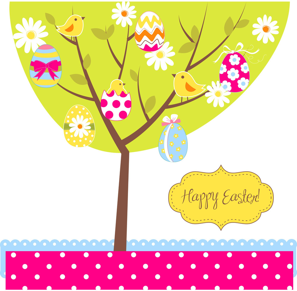Retro Easter Card With A Tree
