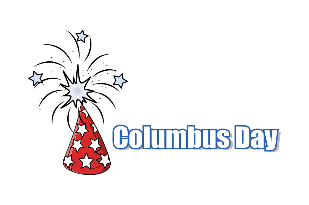 Retro Firework Columbus Day Graphic Banner