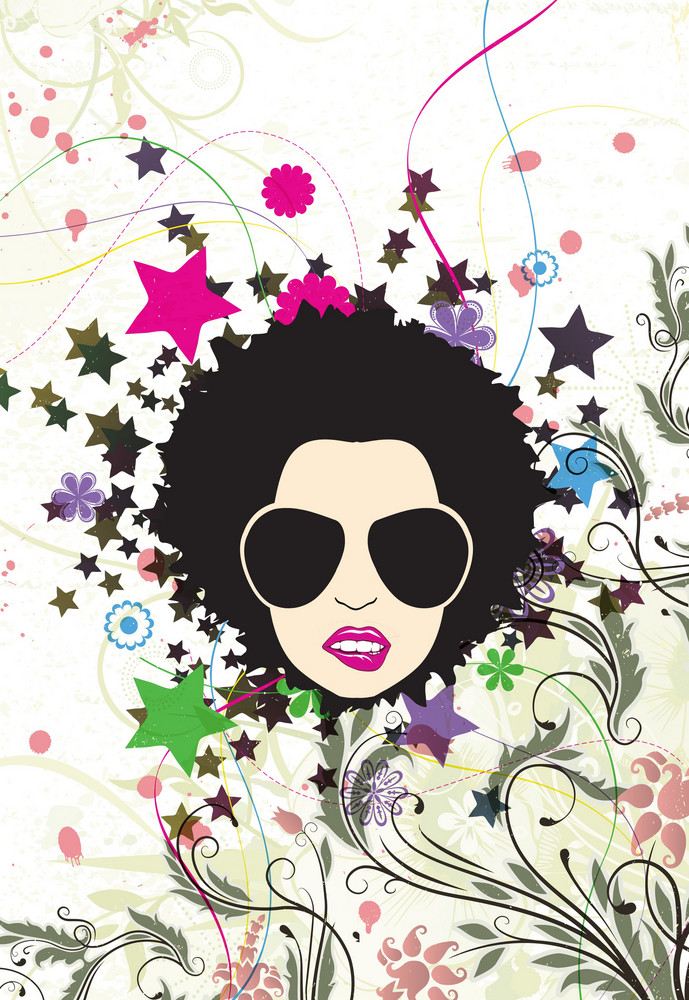 Retro Floral Background With Funky Face Vector Illustration