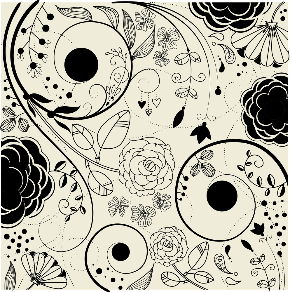 Retro Floral Background-