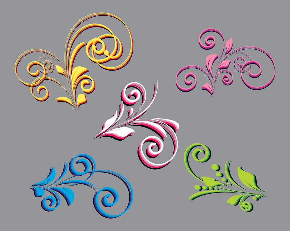 Retro Floral Designs Set Vector