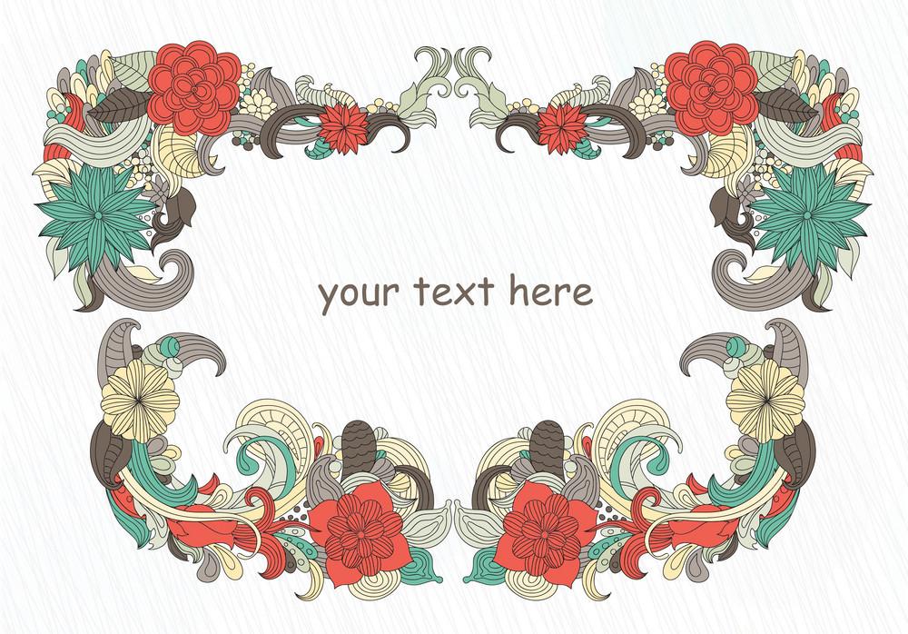 Retro Floral Frame Vector Illustration