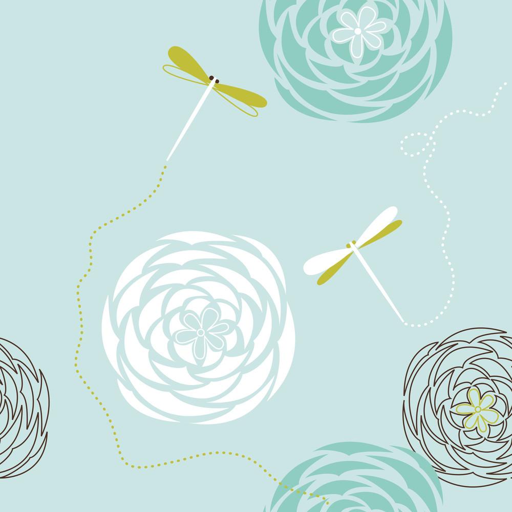 Retro Floral Seamless Background-