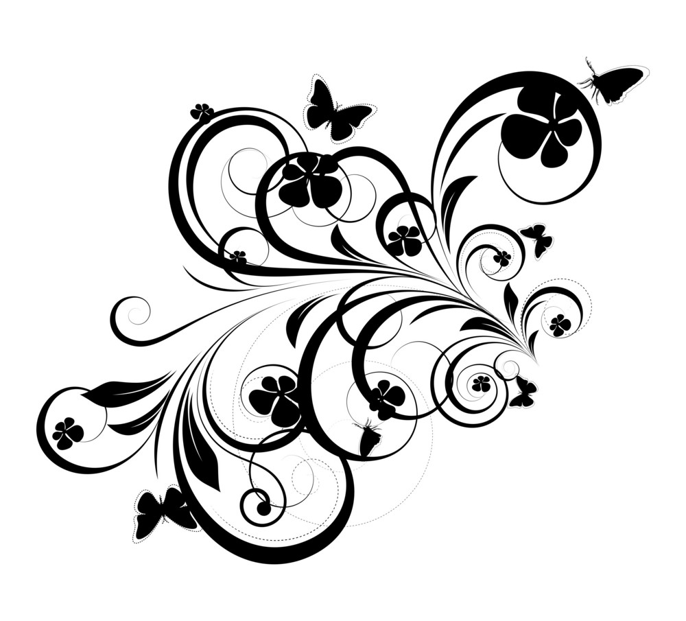 Retro Floral Shape Elements