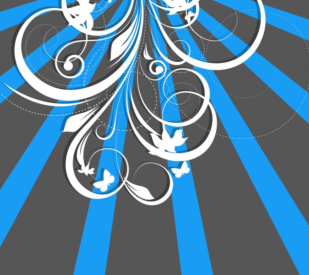 Retro Flourish Striped Background