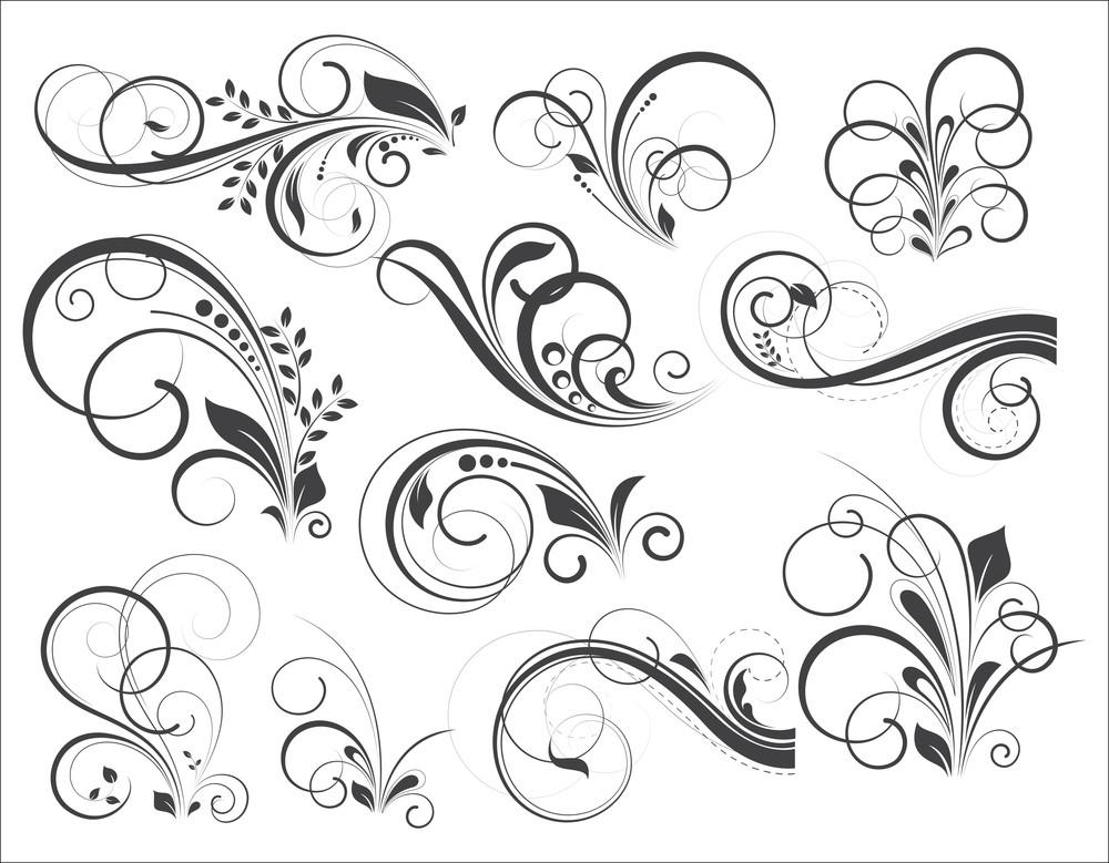 Retro Flourish Vector Designs