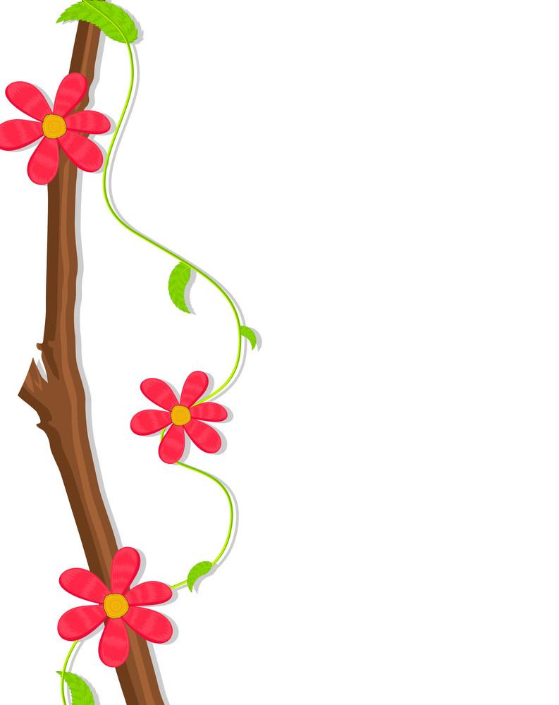 Retro Flowers Branch Banner Design