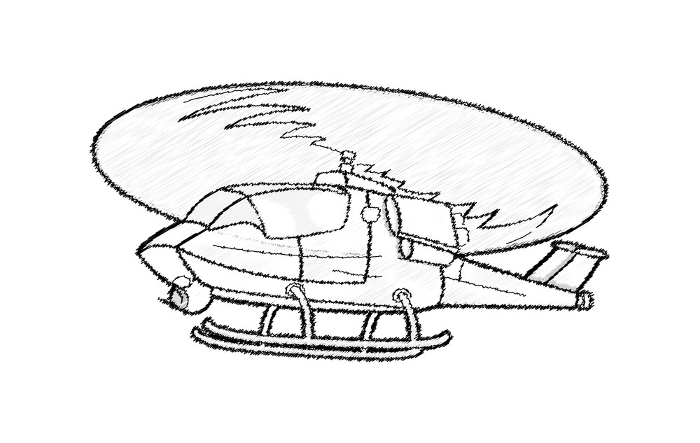 Retro Flying Helicopter Vector