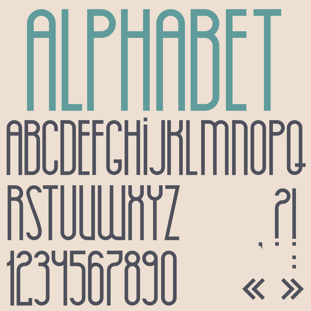 Retro Font, Numbers And Punctuation Marks