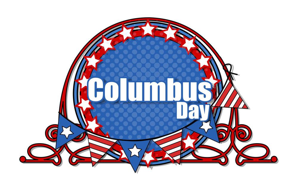 Retro Frame Columbus Day Banner