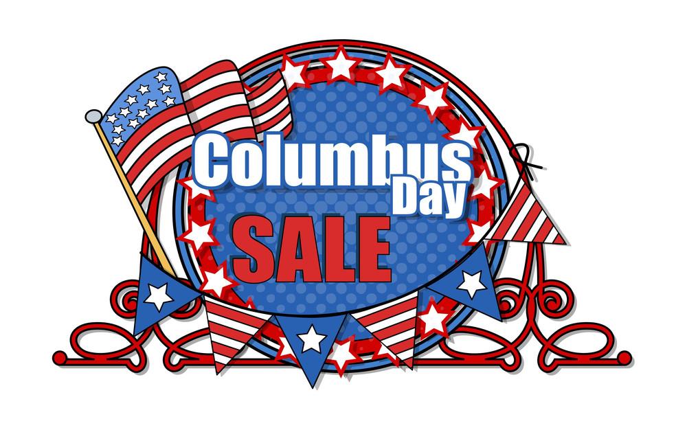 Retro Frame Columbus Day Sale Banner