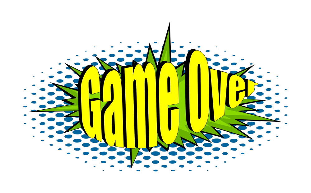 Retro Game Over Text Banner