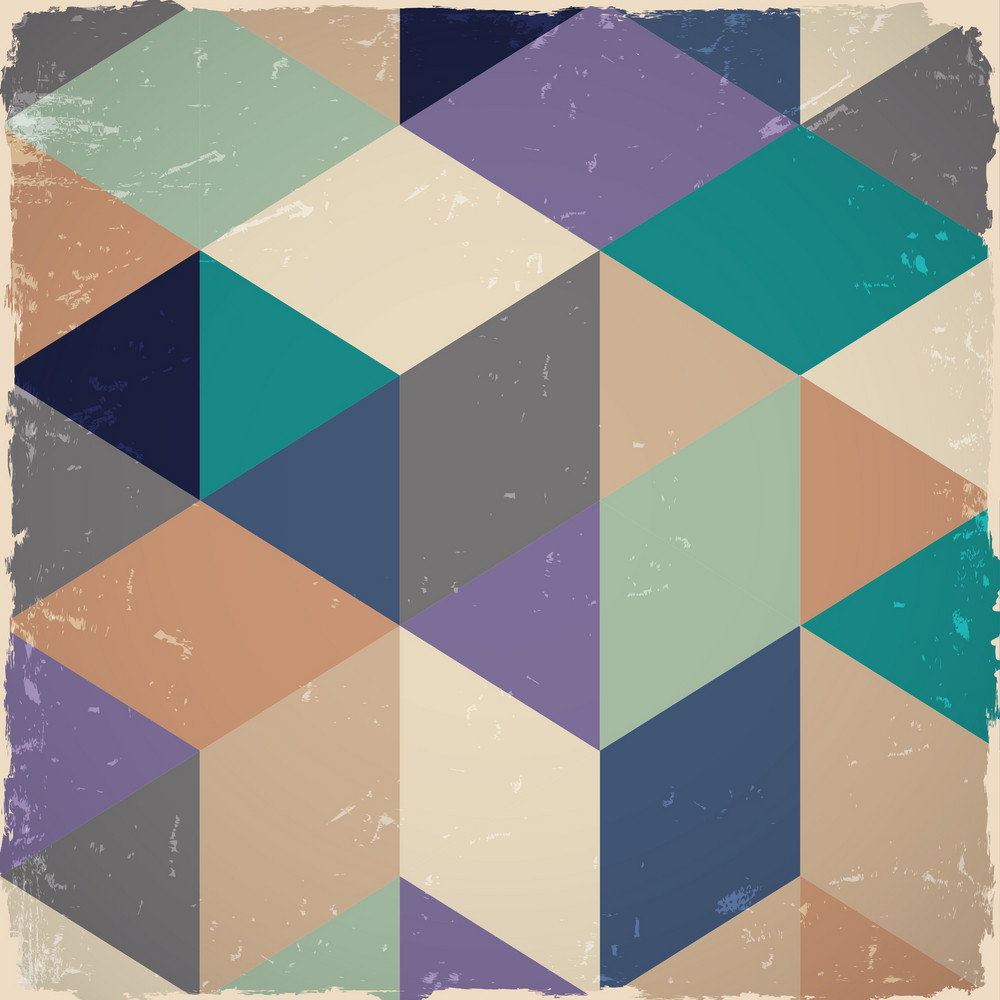 Retro Geometric Background In Grunge Style