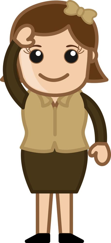 Retro Girl Saying Hi - Business Cartoon Character Vector