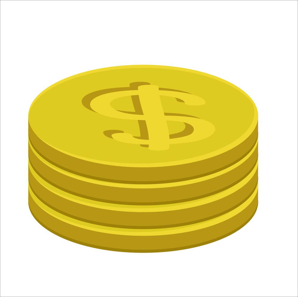 Retro Gold Dollar Coins Vector Collection