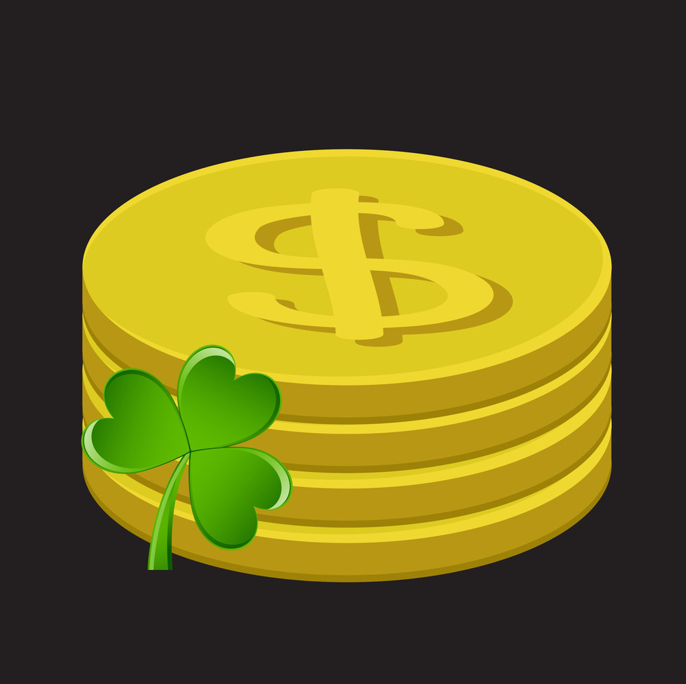 Retro Gold Dollar Coins With Green Shamrock