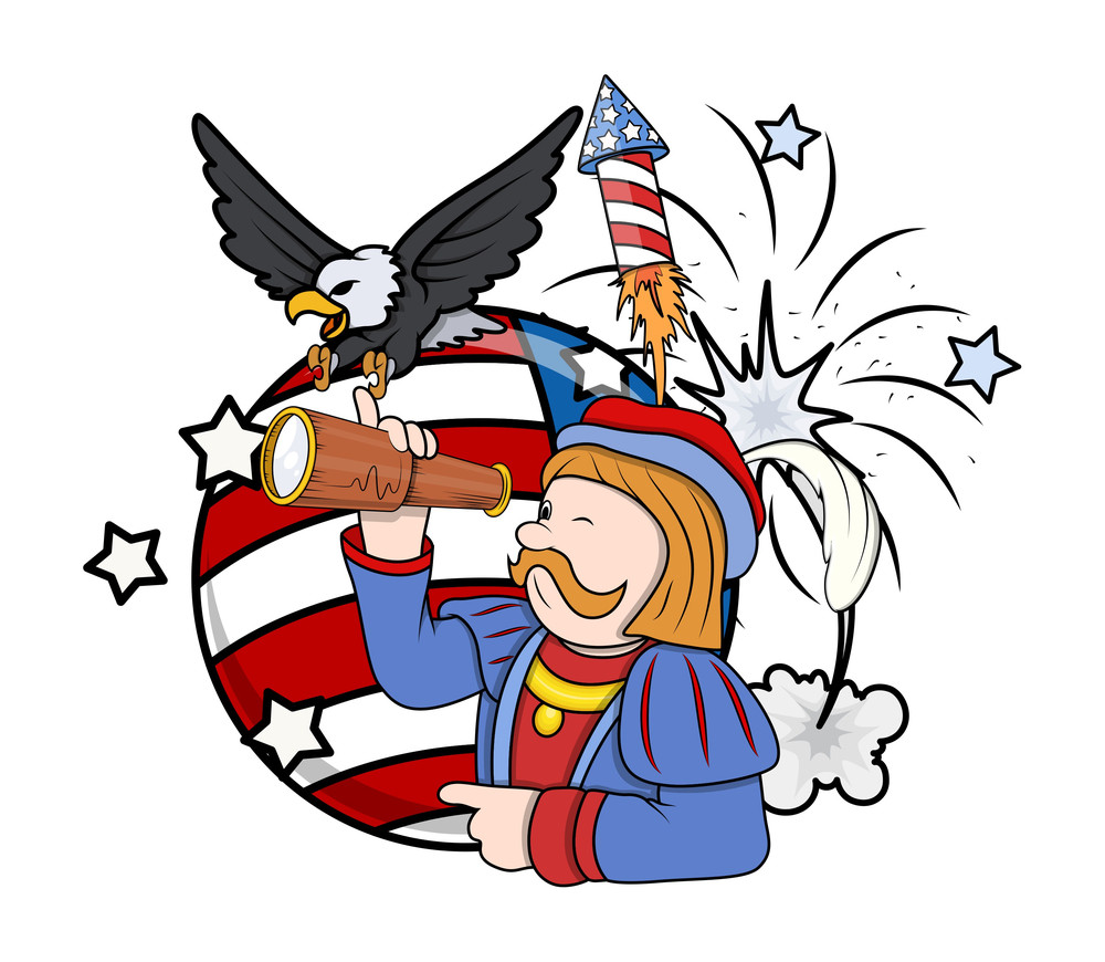 Retro Graphic Cartoon Man With Eagle And Telescope Fireworks Vector