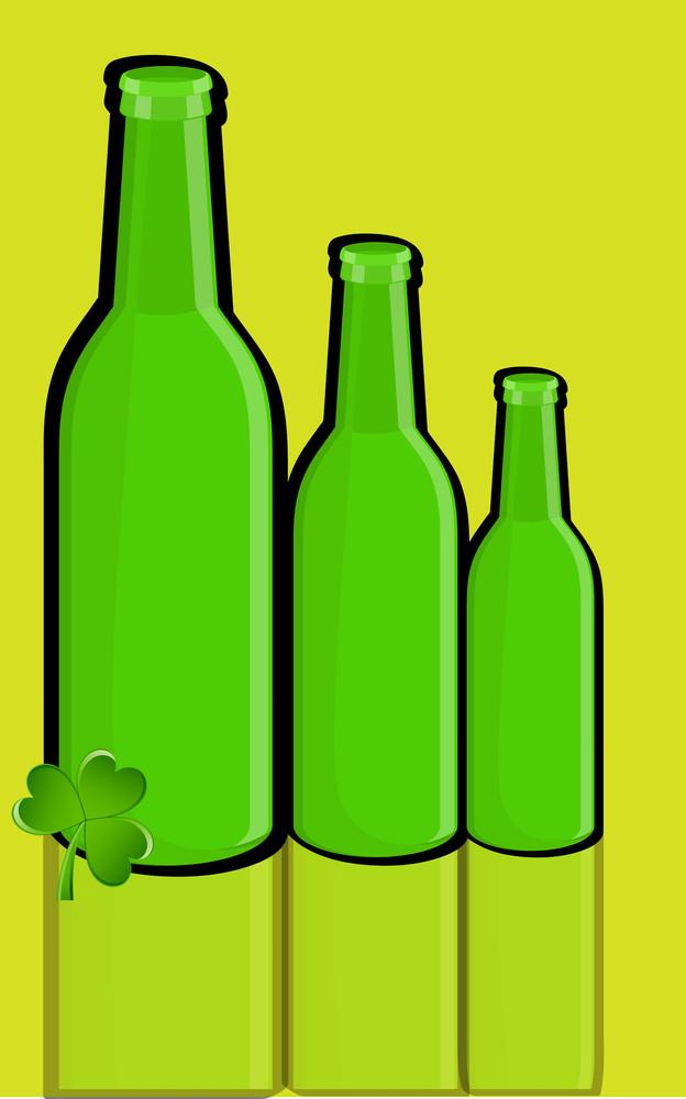 Retro Green Wine Bottles With Shamrock
