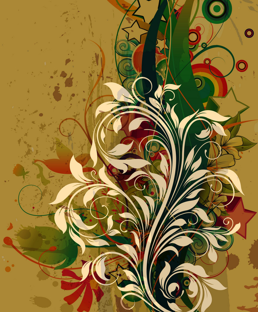 Retro Grunge Background With Floral Vector Illustration