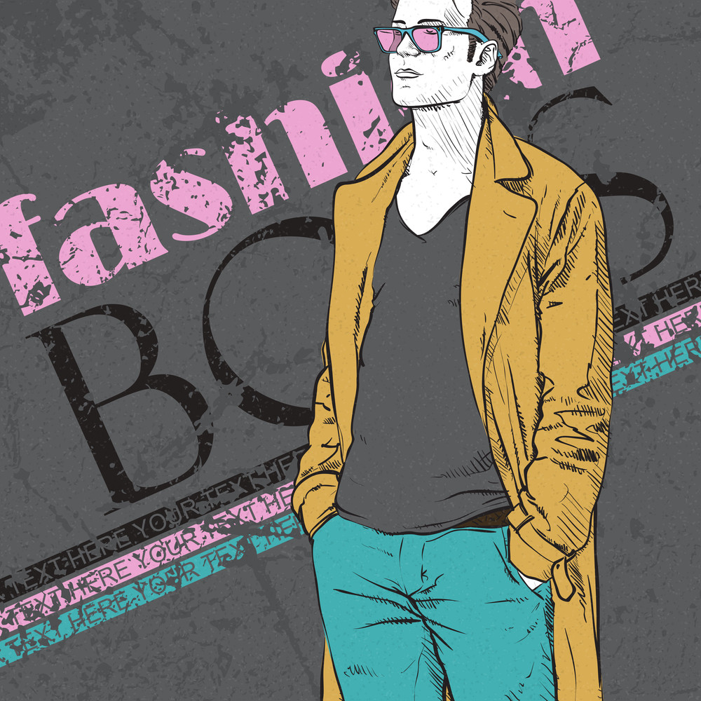 Retro Grunge Poster With Stylish Guy In A Coat.