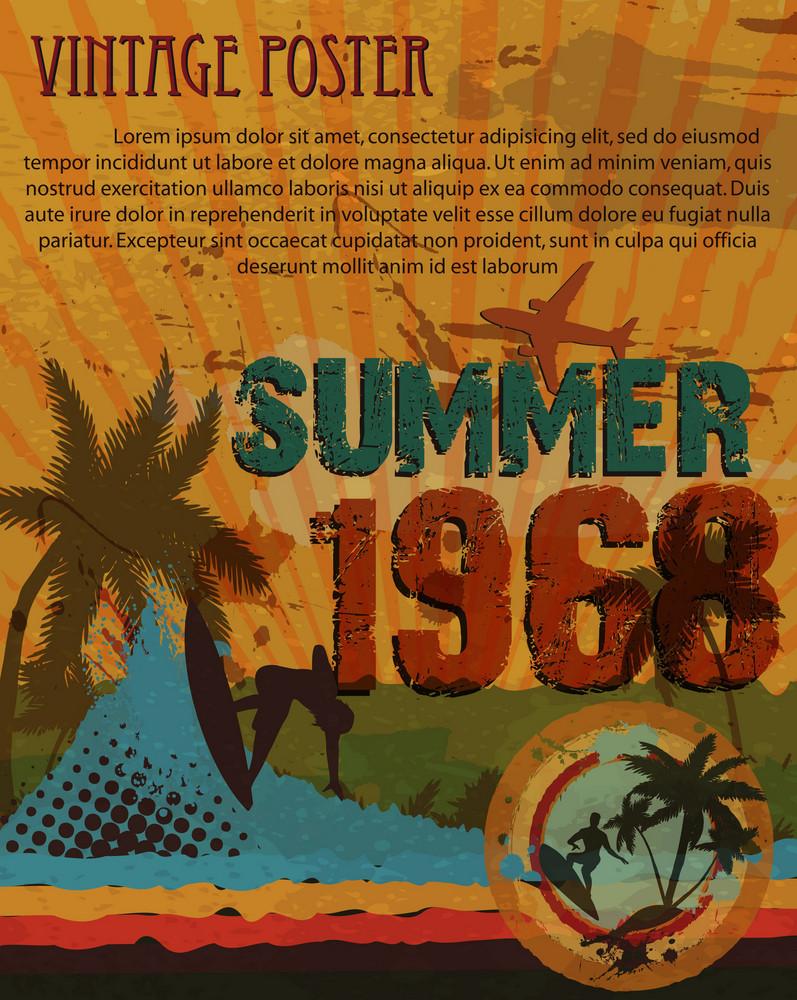 Retro Grunge Summer Poster Vector Illustration