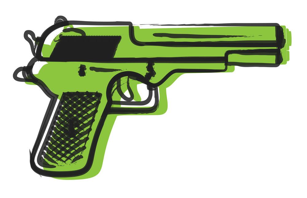 Retro Gun Drawing