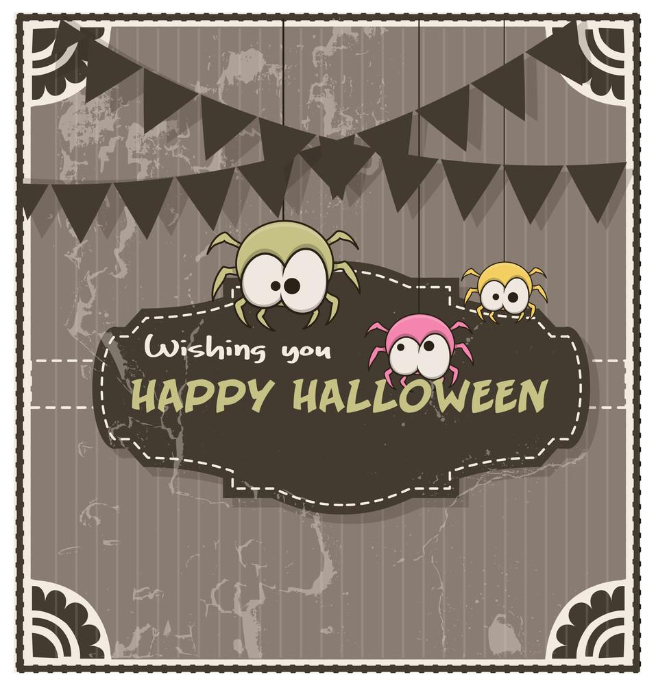 Retro Halloween Funny Spiders Banner