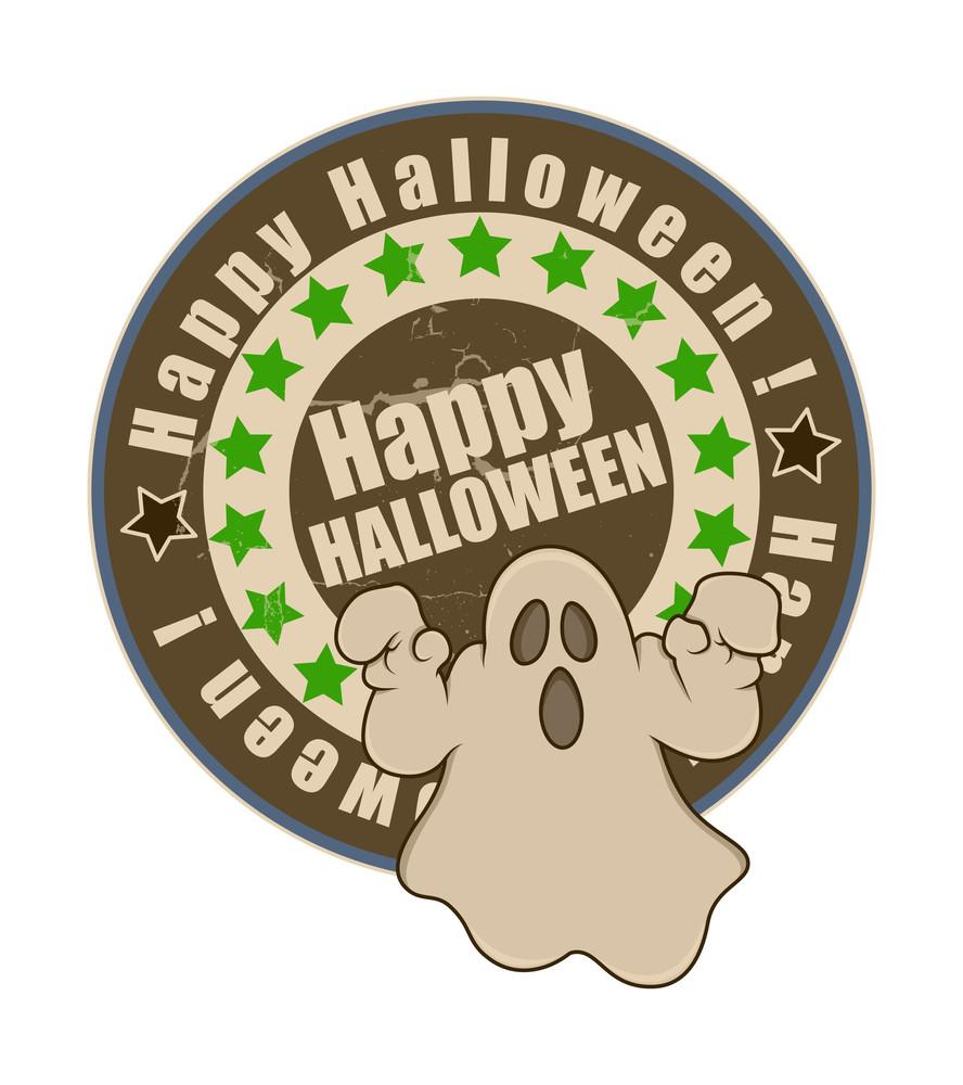 Retro Halloween Ghost Banner