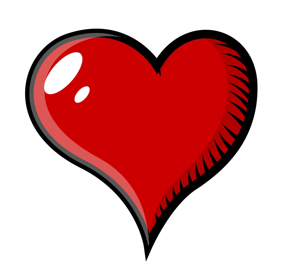 Retro Heart Tattoo Cartoon Vector Illustration